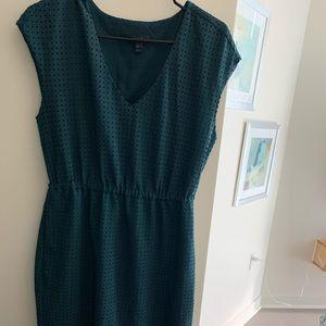 Jcrew midi dark green dress in neck size 10P